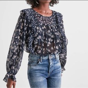 Lucky Brand | Navy Ruffle Floral Frilly Top